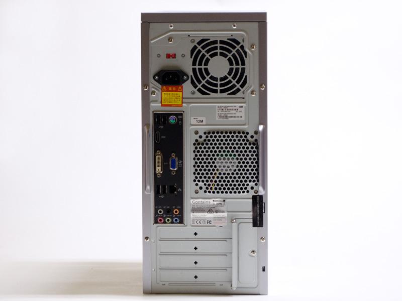 背面。USB 2.0×2、PS/2、HDMI、DVI-D、ミニD-Sub15ピン、Ethernet、USB 2.0×2、音声入出力