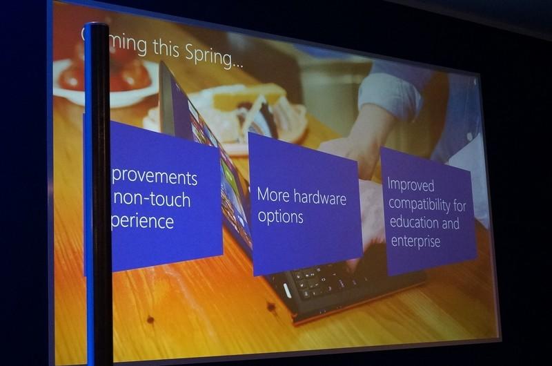春のアップデートで改善される3つの項目。ノンタッチUIの改善、ハードウェアオプション、エンタープライズ対応