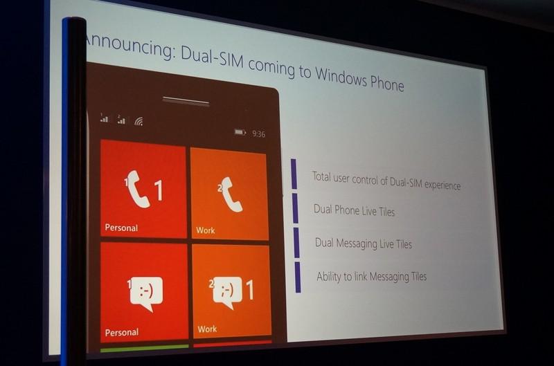 成長市場で必要とされるデュアルSIM対応機能が追加、電話のタイルが2つになるなどする