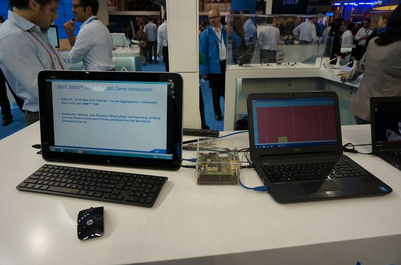 IntelのXMM7260のライブデモ。LTE-AdvancedのCAT6の理論値である下り300Mbpsを超える転送速度が実現できていた