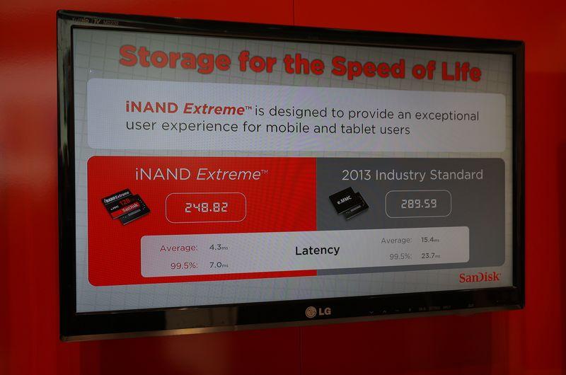 具体的なベンチマークによる差。eMMC 5.0に対応したiNAND Extremeはレイテンシが短い。PCであろうが、スマートフォンであろうが、レイテンシが短くなることは、即ユーザーの利用感が改善されることを意味しており、SanDiskの担当者によれば、1日使えば10分間得する計算になるという