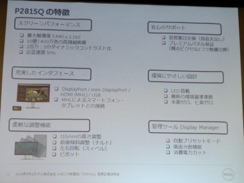 P2815Qの特徴をまとめたスライド
