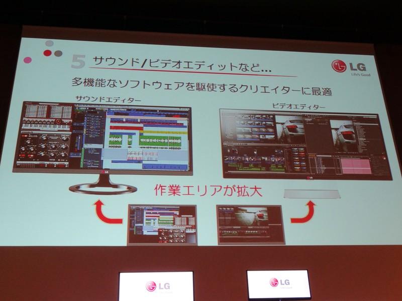 横方向にスクロールする音声/動画編集作業は21:9液晶により作業を効率化させられる