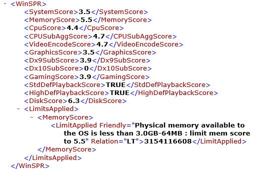 winsat formalコマンドの実行結果。総合 3.5。プロセッサ 4.4、メモリ 5.5、グラフィックス 3.5、ゲーム用グラフィックス 3.9、プライマリハードディスク 6.3