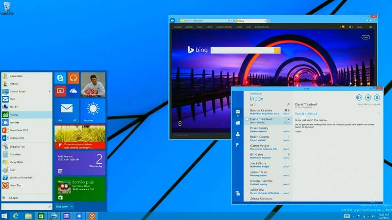 さらに次のアップデートでは、デスクトップにスタートメニューが復活。ストアアプリはウインドウ表示も可能に