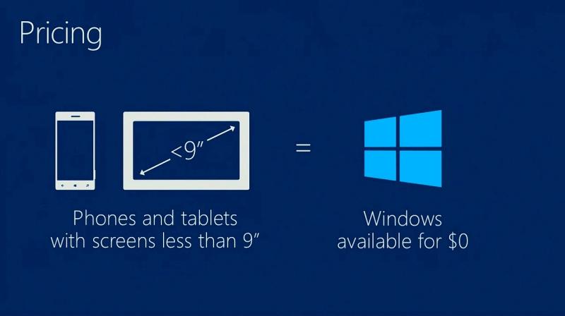 9型未満のタブレット/スマートフォン用にWindowsを無償でOEM/ODMへ提供