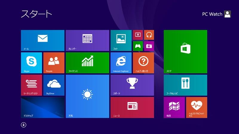 スタート画面。Windows 8.1標準そのもの