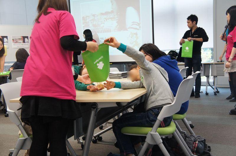 午後の演習の前に、グループの親睦を深めるためのレクリエーションが行なわれた。まず、レクリエーションに使うパスタやマシュマロが配られた