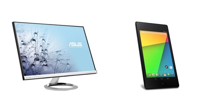 購入者向けキャンペーンの賞品。「MX279HR」(左)と「Nexus 7(2013)/16GBモデル」(右)