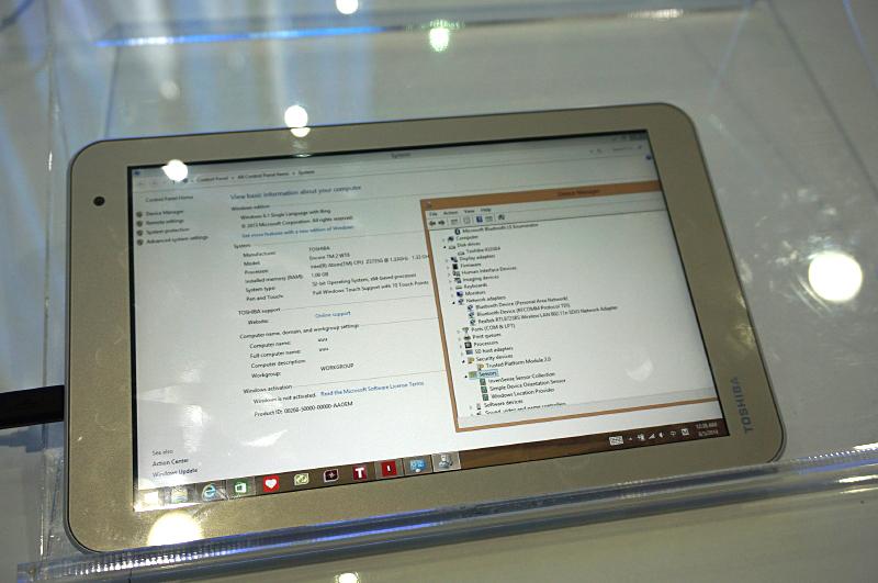8型Encore 2のシステムのプロパティとデバイスマネージャ。CPUはAtom Z3735G(Bay Trail Entry)でメモリは1GB。Wi-FiはRTL8723BS