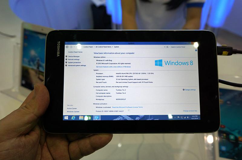東芝のEncore 2の7型と見られる未発表製品。やはりAtom Z3735G(Bay Trail Entry)とメモリ1GBというスペックで、液晶は7型1,280×768ドットと低価格Androidと同じデバイスが採用されていた。当然8型の199ドル以下の製品で販売されると見られる