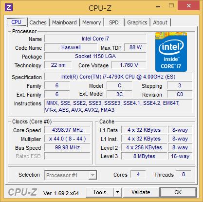 Core i7-4790KのCPU-Z実行画面。Core Voltageが1.760Vになっているが、コア電圧以外の電圧(恐らくCPU Input Voltage)を拾ってしまっているようだ。CPUコアに1.7V超の電圧が掛かっているわけではない
