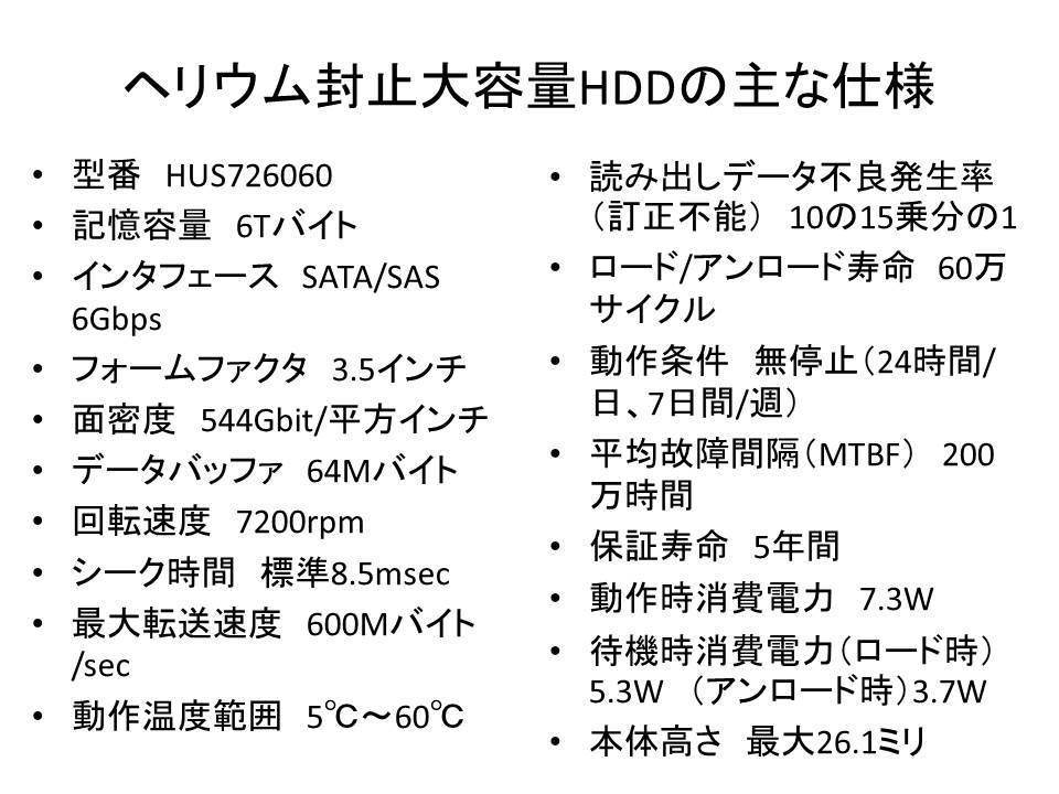 ヘリウムガス封止HDD「Ultrastar He6」の主な仕様