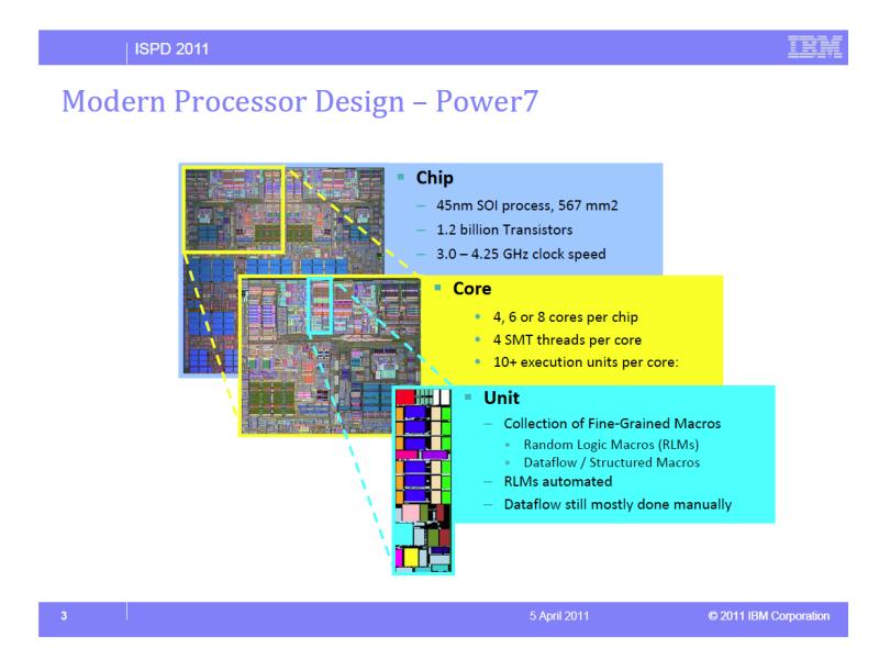 論理合成したRLM(Random Logic Macros)部とカスタム/セミカスタムのデータフロー(データパスとも言う)部がパッチワーク状になったIBMのCPUコア