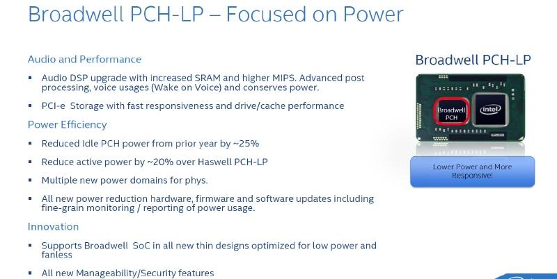 Broadwell-Yで導入される新しいPCHでは、新オーディオエンジンやPCI Express SSDへのネイティブ対応などが目玉機能となる(出典:Intel)