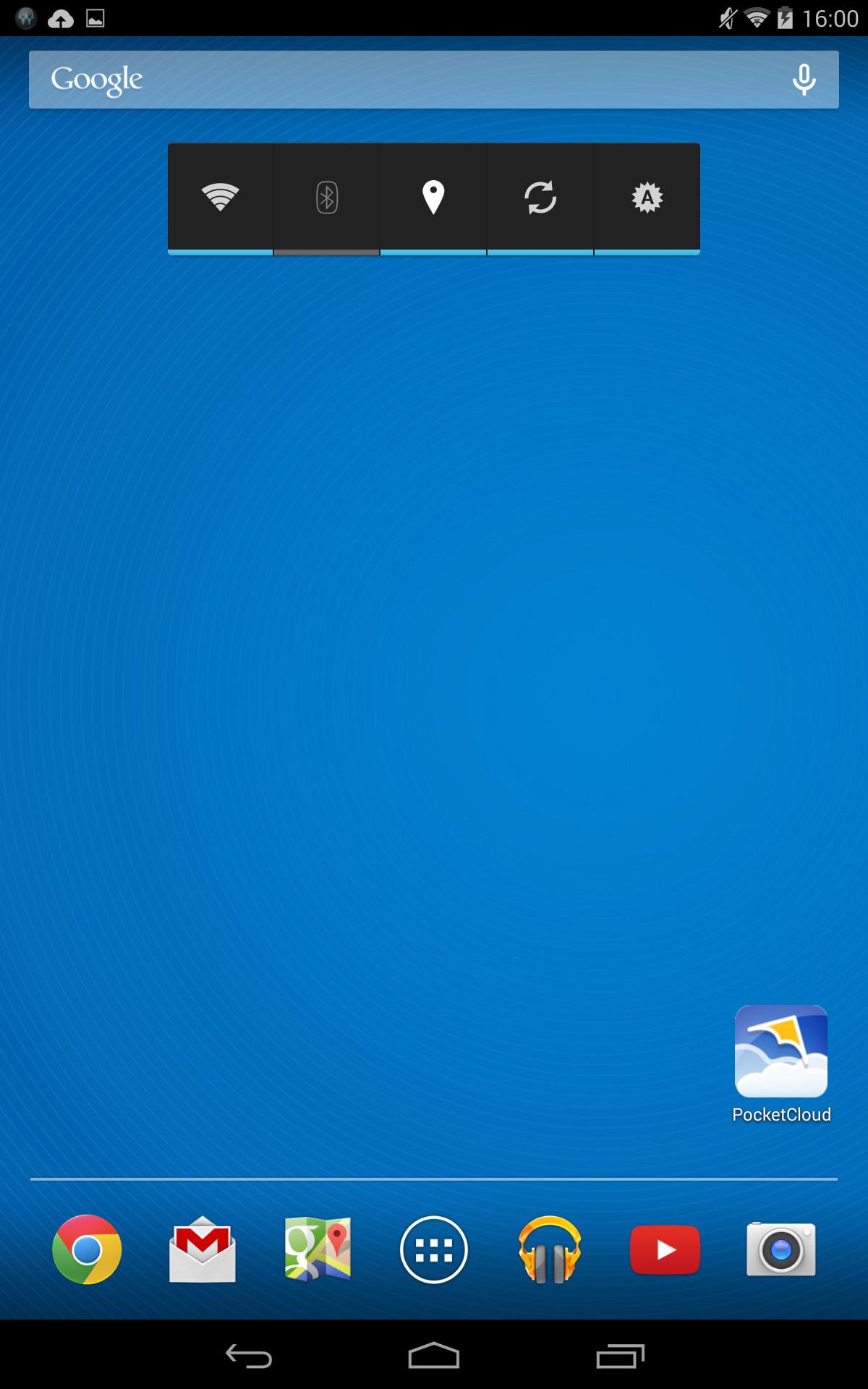 ホーム画面2/5。電源管理ウィジェットとPocketCloud