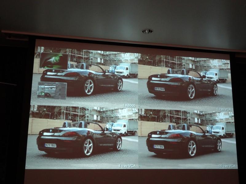 GPUの数によるレンダリング速度デモ。左上はQuadro K6000×1台、ほかはVCAの台数による差となる。再レンダリングが始まった直後を撮影したもので、16台のVCAを用いた環境はレンダリングが完了しているが、ほかはまだ結果が収束していないことが分かる