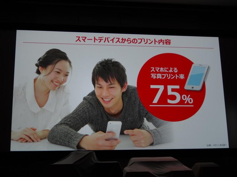 スマートフォンからは写真を印刷する人が多く75%に達している