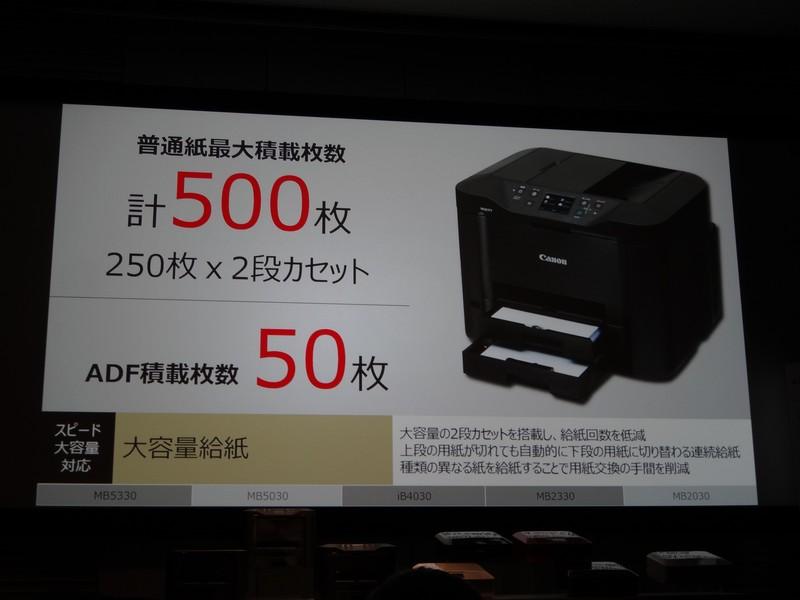 給紙枚数は2段トレイモデルで500枚、1段トレイモデルで250枚に対応。ADF搭載モデルは50枚をセットできる