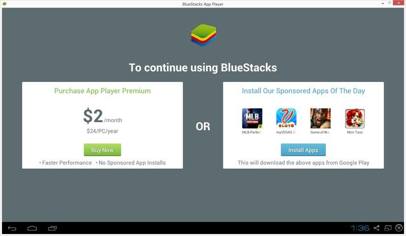 BlueStacksを継続して利用するには、24ドル(年額)を払ってプレミアム版へアップグレードするか、スポンサードアプリをインストールする必要がある