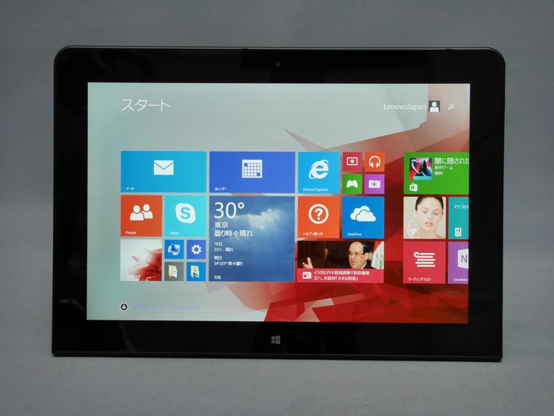 ThinkPad 10本体正面。フットプリントは256.5×177mm(幅×奥行き)と、従来モデルにThinkPad Tablet 2より幅がわずかに短く、奥行きがやや長くなっている