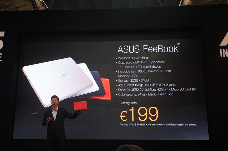 EeeBook X205の価格は199ユーロ(日本円で約27,000円)から。Eee PCの流れを汲む低価格クラムシェルという位置付けになる。本体色はホワイト、ブラック、レッド、ゴールドの4色