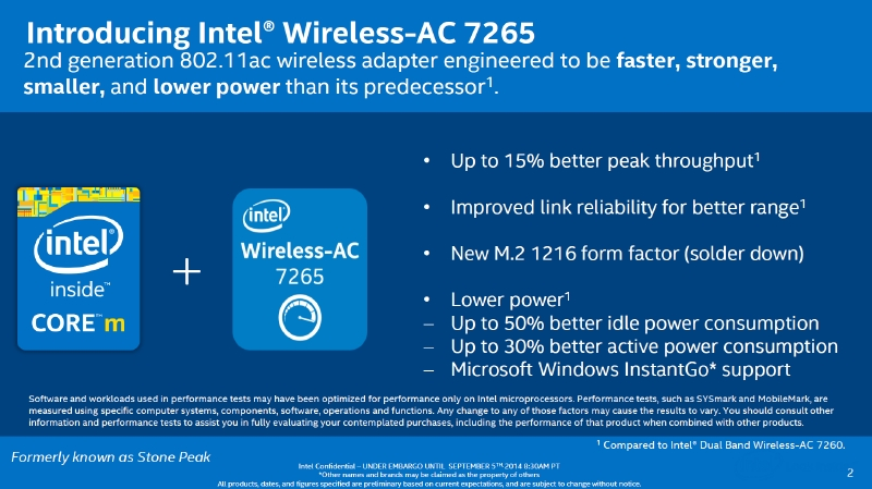 新しい無線LANモジュールとなるIntel Wireless-AC7265。消費電力が削減され、InstantGo対応が追加されている