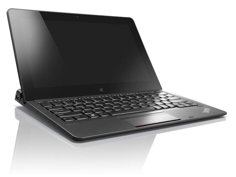 ThinkPad UltraBook Keyboardでクラムシェル型PCとして使っているところ、タブレットはドッキングというよりは置くという形になる