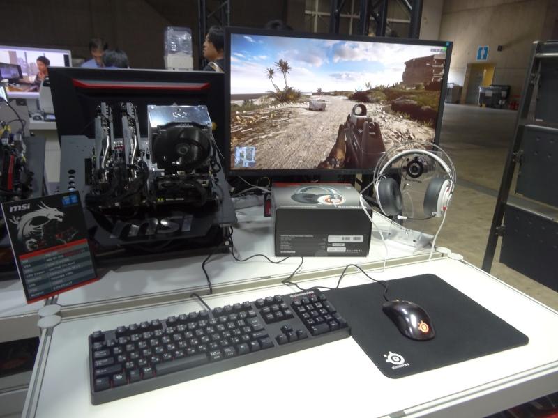 MSIのPCパーツやノートPC、EIZOの液晶、SteelSeriesのゲーミング周辺機器を展示