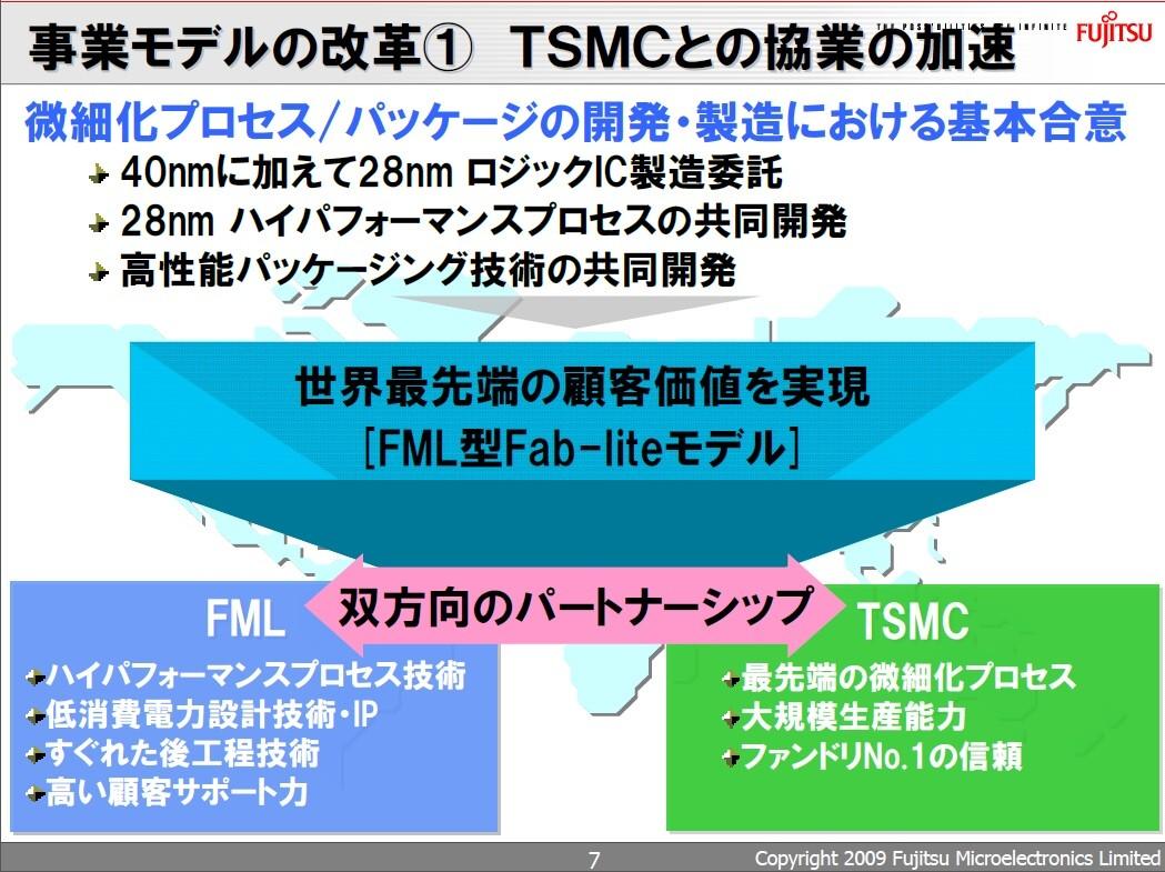 最大手ファウンダリ企業TSMCとの協業の概要。2009年8月27日に開催された事業戦略説明会の資料から引用した