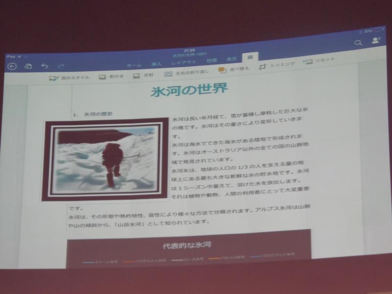 Office for iPadは、画面の大きさを考慮して、リボンがPC版より集約されているが、図をタップすると、図のリボンが登場するというように、きちんと全機能が搭載されている