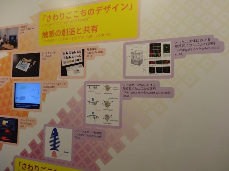 壁には舘教授のこれまでの研究をツリー状にまとめた図がディスプレイされている。下が古く、上が新しい研究