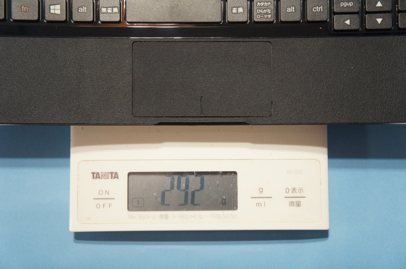 Bluetoothキーボードカバーの重量は、実測で292gであった