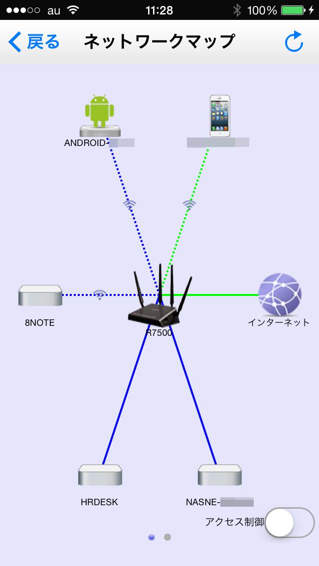 こちらはiOS版アプリのネットワークマップ表示