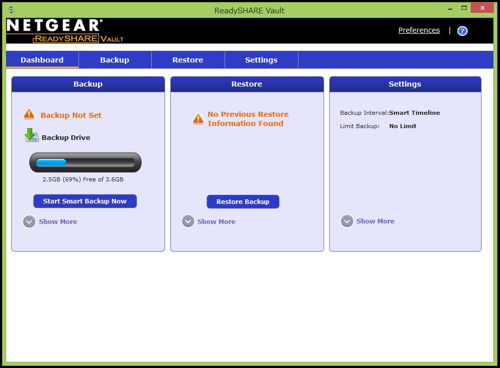 ReadySHARE Vaultのトップ画面。R7500に接続したUSBストレージを使ってバックアップができる