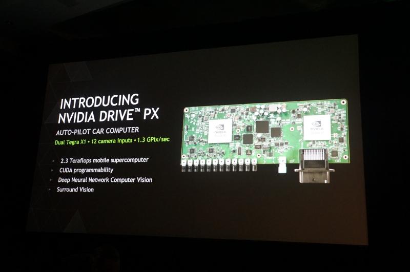 NVIDIAのDRIVE PX、ADASなどに利用することができるTegra X1を2個搭載したボード。2.3TFLOPSの処理能力を利用して、CUDAのプログラムにより深層学習などが実現できる