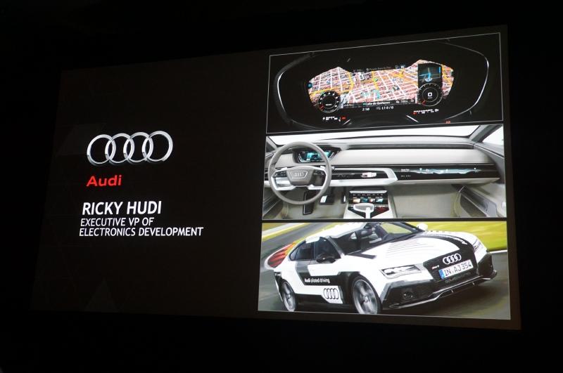 ステージにはNVIDIAに関係の深い自動車メーカーとしてドイツAudi社の電気設計開発担当上級副社長リッキー・フーディー氏が登壇し、NVIDIAの半導体を利用したデジタルメーター、カーナビゲーション、自動運転システムなどについて語った