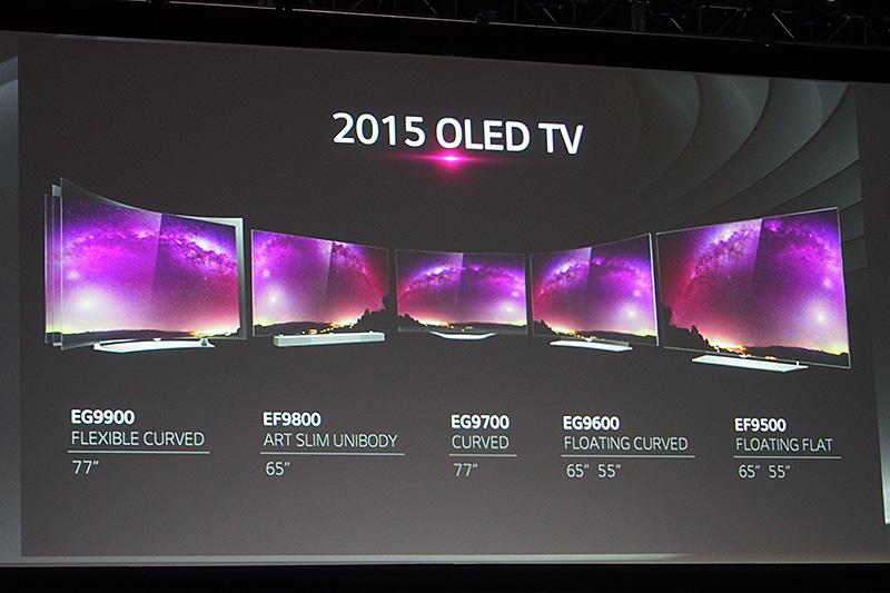 2015年モデルの主要TV製品ラインナップ。55型から77型まで