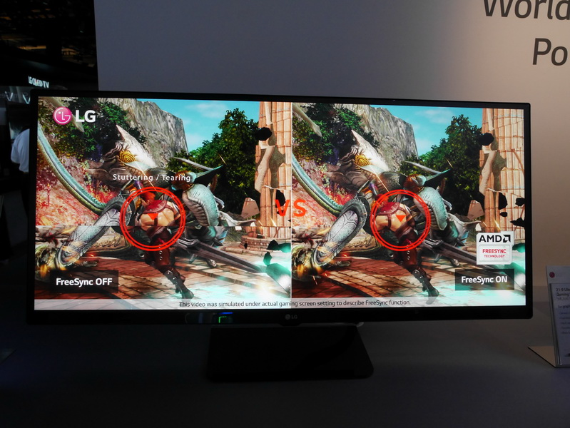 FreeSync対応で、AMD製のFreeSync対応GPUとの併用によりティアリングのないなめらかなゲーム画像の表示が可能