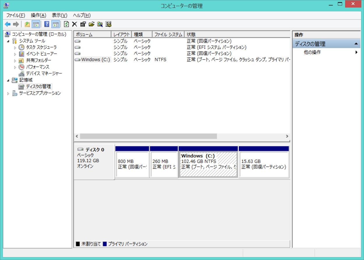 SSDのパーティション。C:ドライブのみの1パーティションで約102.5GBが割り当てられている