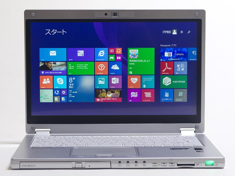前面。液晶パネル中央上にWebカメラとWindowsボタン。正面側面にDVDスーパーマルチドライブ、バッテリインジケータ1と2、HDD/SDカード LED、音量±ボタン、回転ロックボタン、SDカードスロット、電源スイッチ