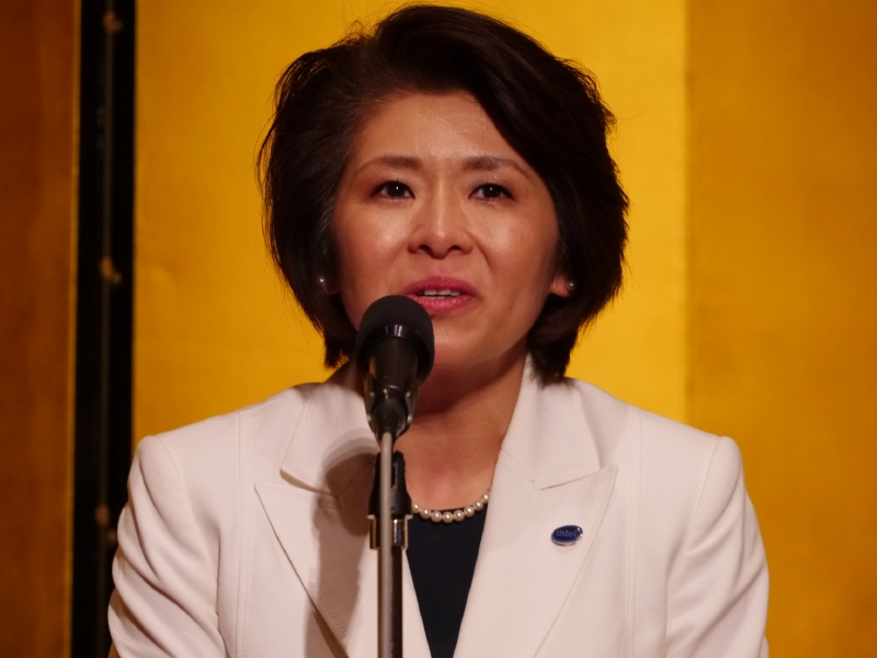 来賓として挨拶したインテルの江田麻季子社長