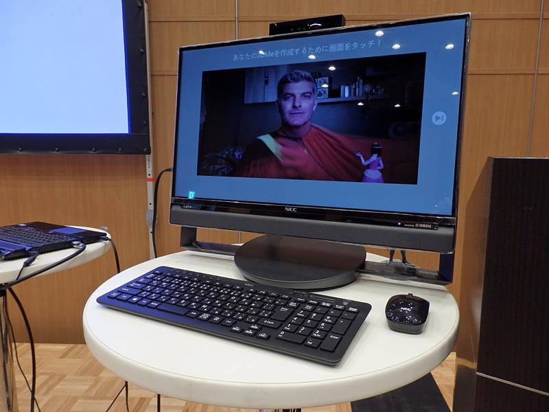 発表会で展示されたNECパーソナルコンピュータ(NEC PC)のLaVie Desk All-in-one