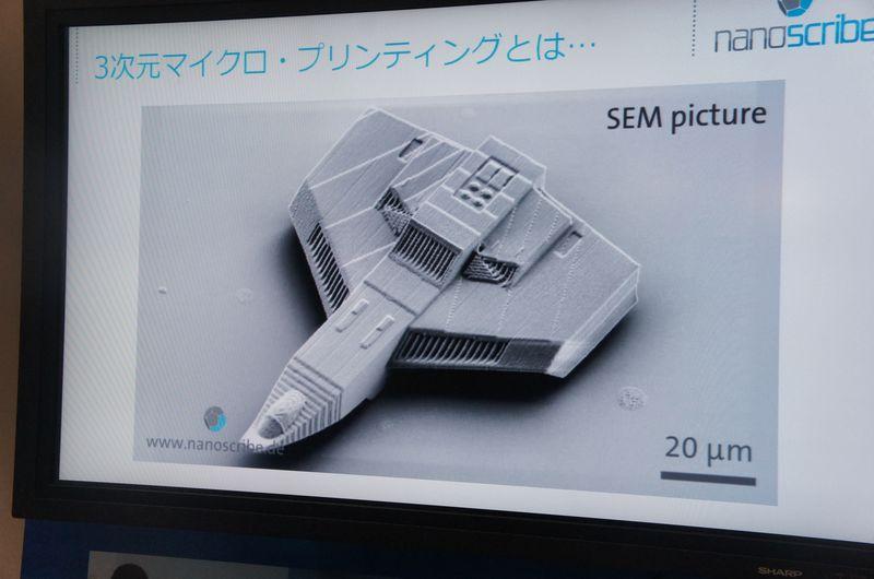 こちらは、SEM(走査型電子顕微鏡)による出力例の写真。物体のサイズは0.1mmほどである