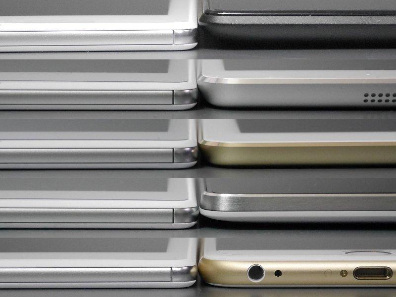 厚みの比較(いずれも左側が本製品)。上から順に、Nexus 7(2013)、iPad mini 2、iPad Air 2、Nexus 9、iPhone 6 Plus。iPad Air 2には唯一負けているものの、ほかの製品と比較するとその薄さが際立つ