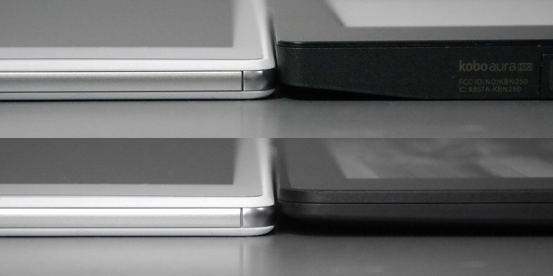 厚みの比較(いずれも左側が本製品)。上から順に、Kobo Aura H2O、Kindle Voyage。Kindle Voyageは現行の電子書籍端末の中で最薄となる製品だが、本製品の方が薄い
