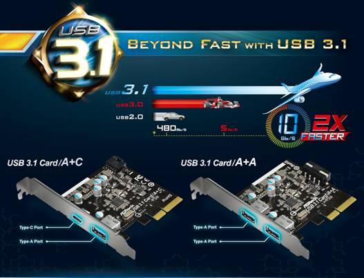 2種類のUSB 3.1カード