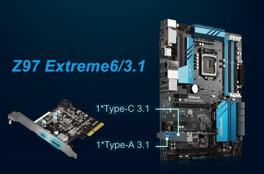 Z97 Extreme6/3.1はType-CとType-A付きカードが付属