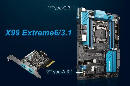 X99 Extreme6/3.1はオンボードでType-Cを1基装備。Type-Aが2基の拡張カードが付属