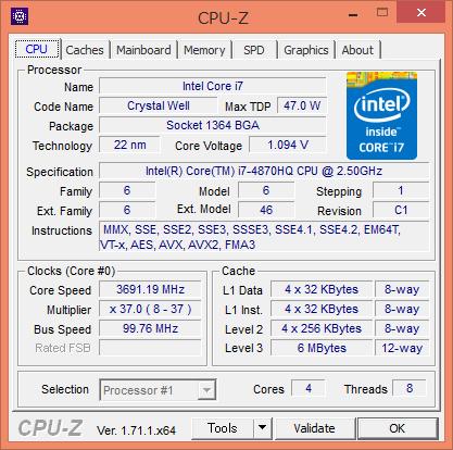 CPU-Z実行画面。最大3.7GHzで動作する強力な4コア8スレッドCPUだ
